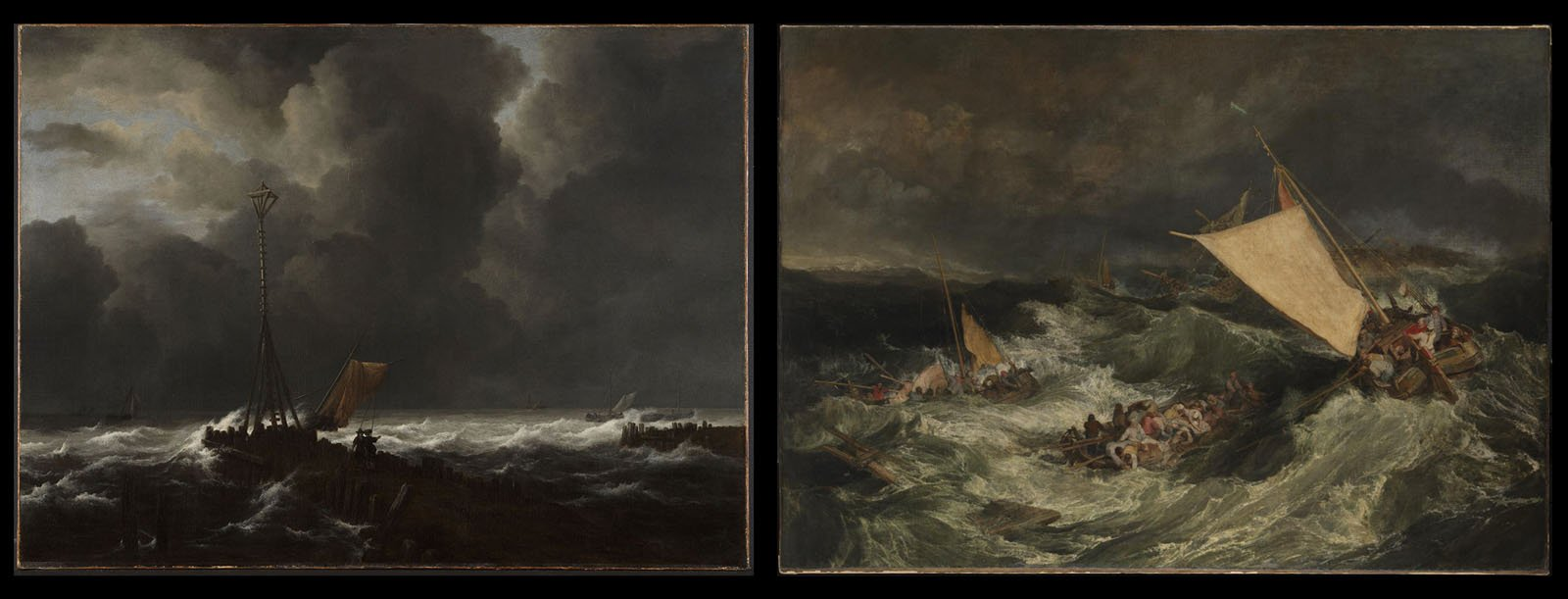Jacob Van Ruisdael  'A Looming Storm' (left) Joseph Turner 'The Shipwreck' (right)