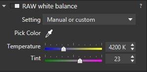 White balance panel in DxO Optics Pro 10 (Lightroom is similar)