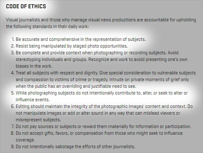 Relevant lines in the NPPA Code of Ethics.