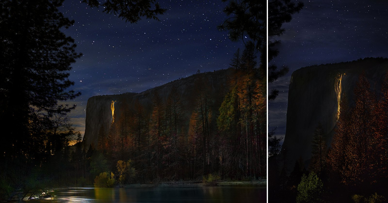 Capturing the Incredibly Rare Moonlit Firefall at Yosemite