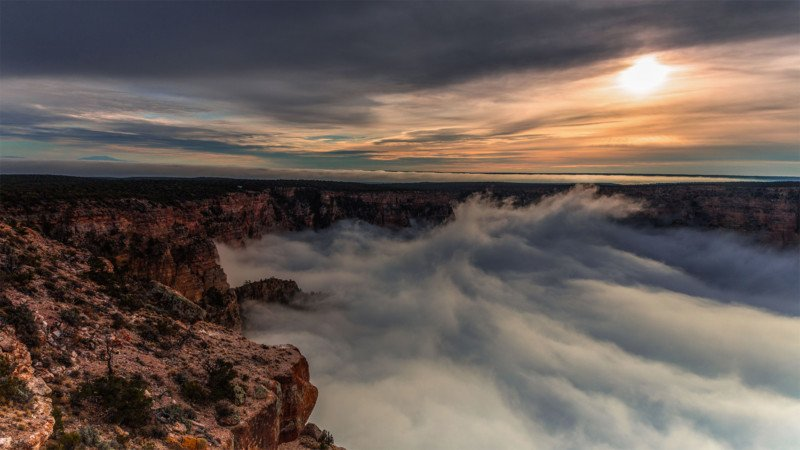 Image result for clouds filling grand canyon