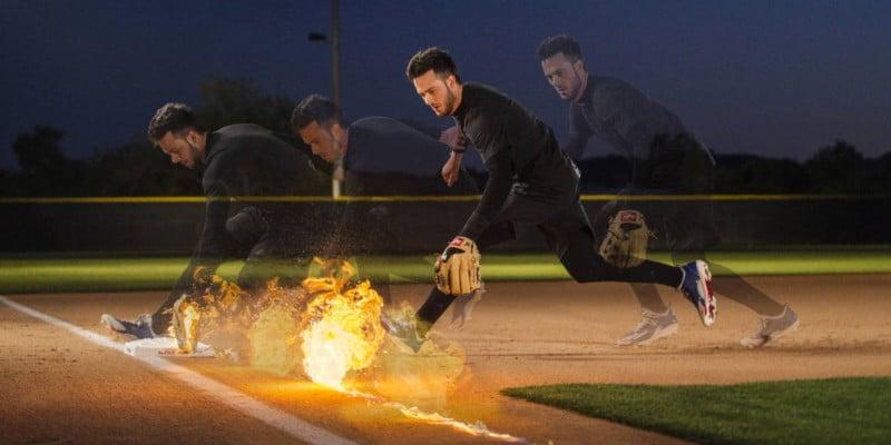 Shooting Portraits of Baseball Star Kris Bryant Fielding Real Fireballs