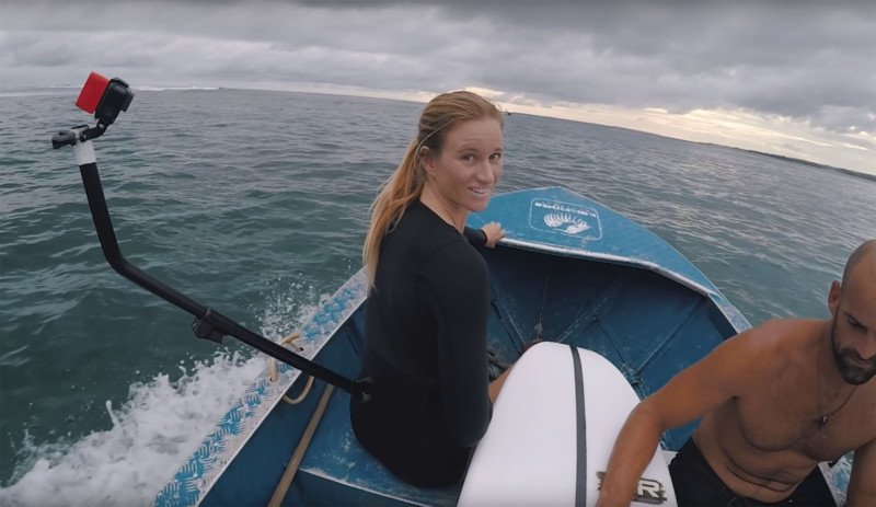 Surfing with a Back-Mounted GoPro on a Pole That's Edited Out