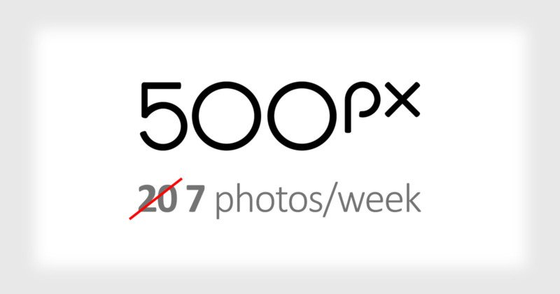 500px Quietly Dropped Free Account Upload Limit to 7 Photos Per Week