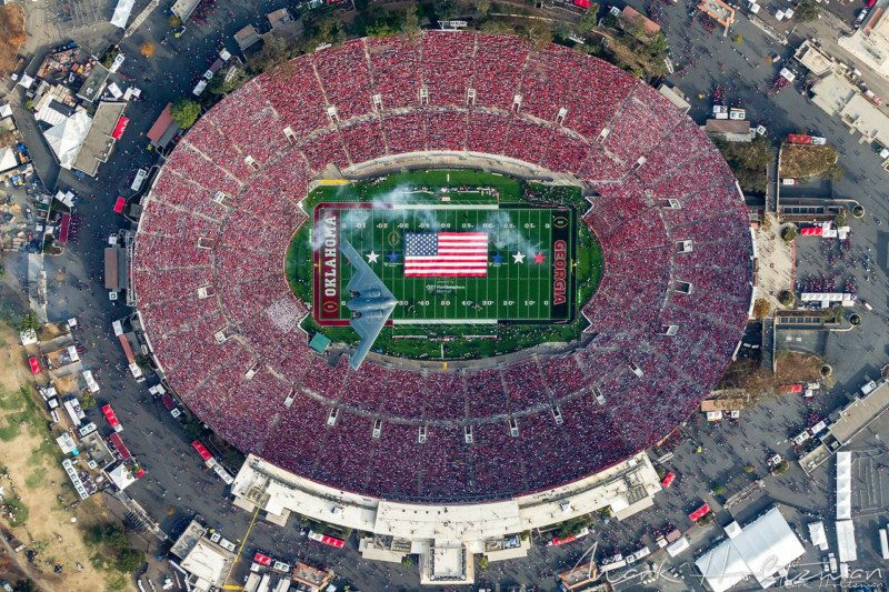 How to Photograph a Stealth Bomber Over a Stadium… From Above