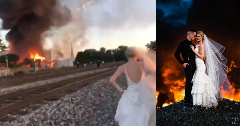 Wedding Photography Dayton Oh: Wedding Photographer Uses Building Fire As Backdrop