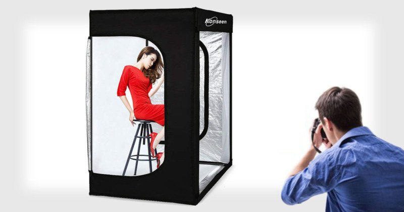 konseen photo studio a pop up light tent with led portrait lighting