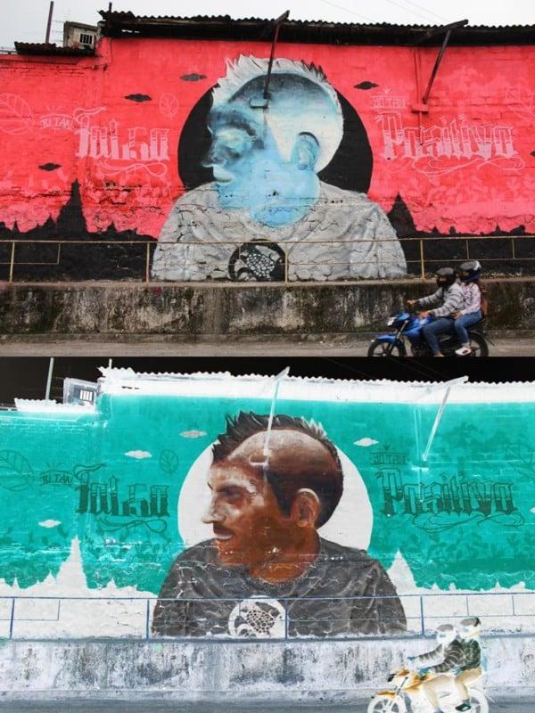 Murale in negativo e in positivo di Sepc