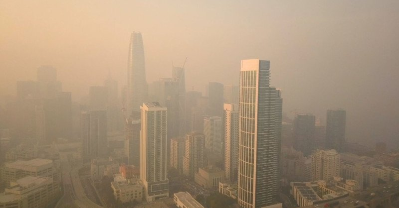 Drone Shots of San Francisco Shrouded in Wildfire Smoke