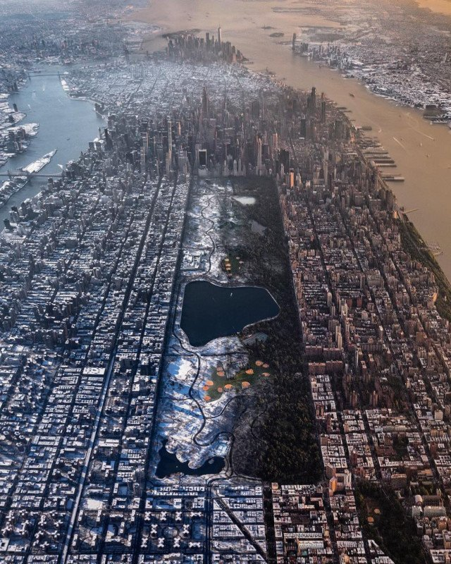 This Aerial Photo Shows How Winter Changes New York City