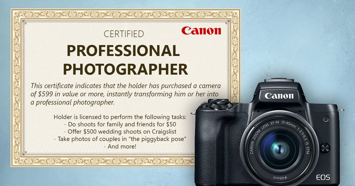 Canon Including 'Pro Photographer' Certificate with All $599+ Cameras