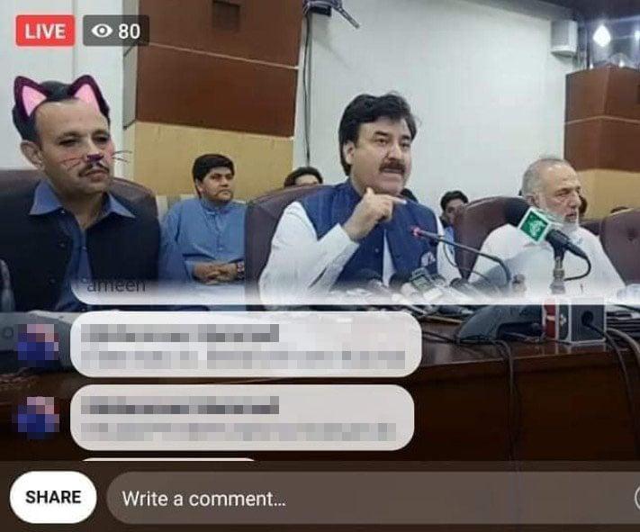 Pakistani Politician Cat Filter in Livestream