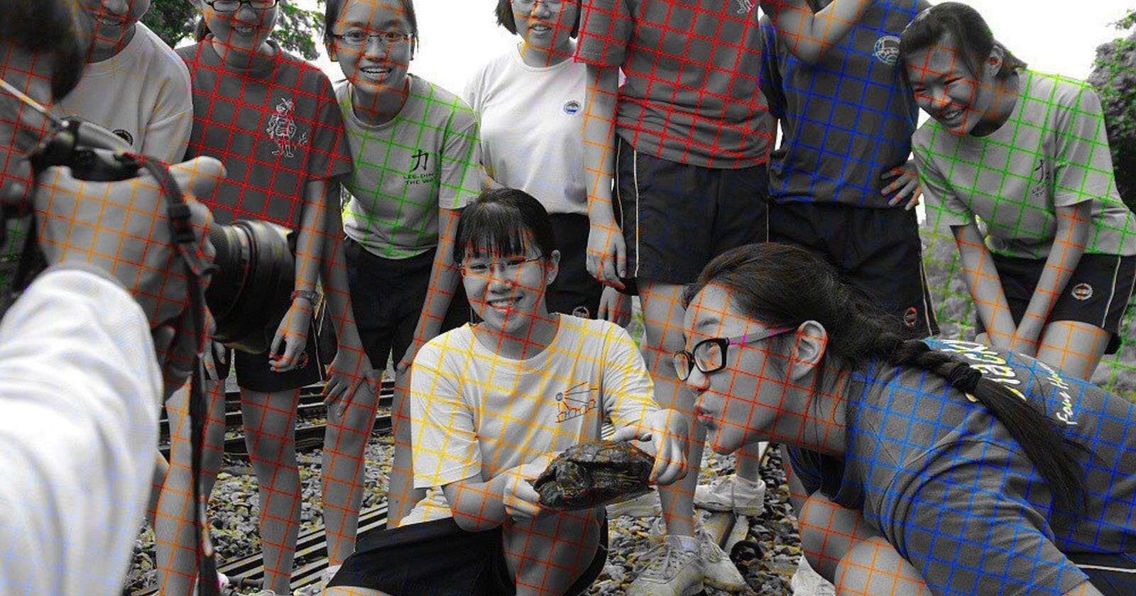 This Black-and-White Photo Uses Color Grid Lines to Trick Your Brain