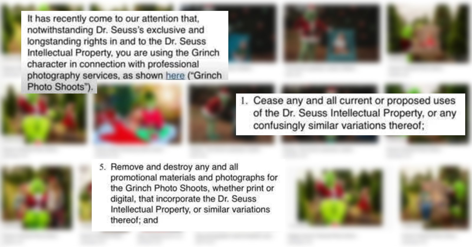 Dr. Seuss Goes After Photographer Over Grinch-Themed Photo Shoot