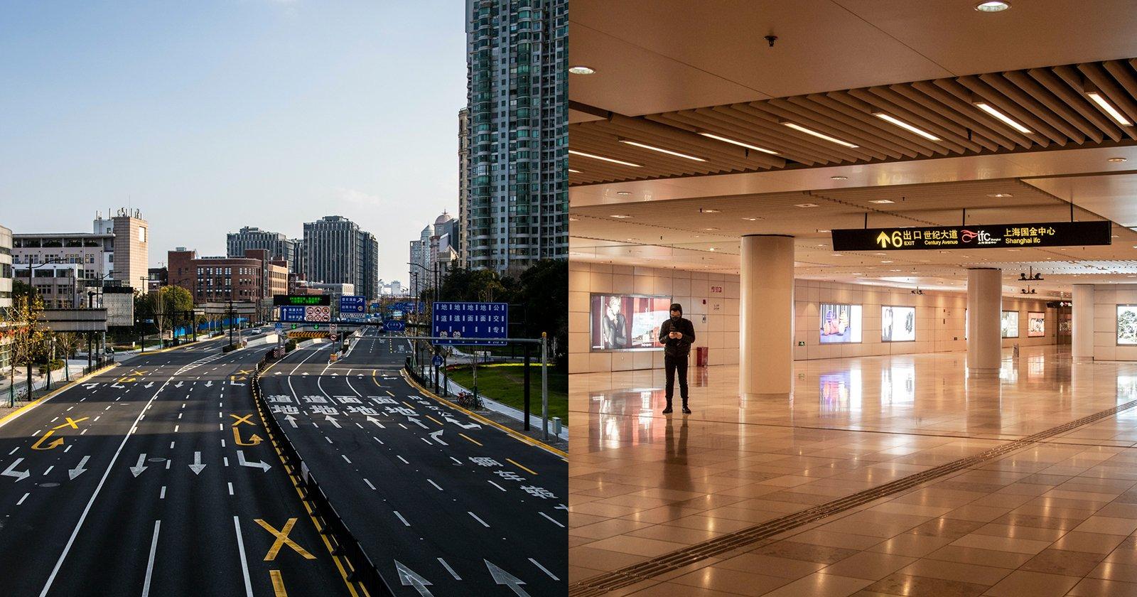 Photographer Captures Eerily Empty Shanghai During Coronavirus Outbreak