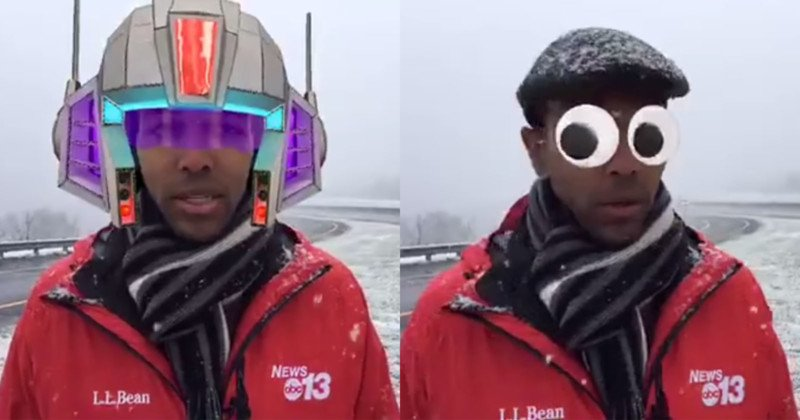 Reporter accidentally does weather report with face filters on