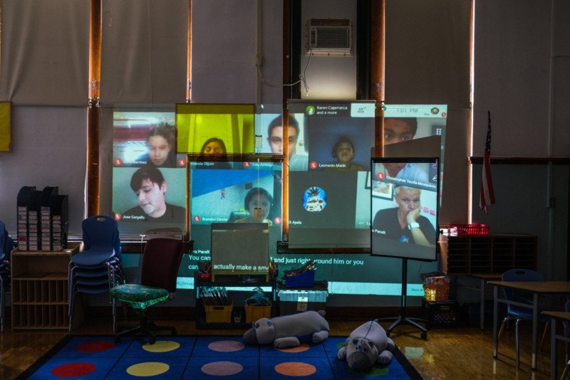 Photos Document Remote Learning at a Chicago Elementary School