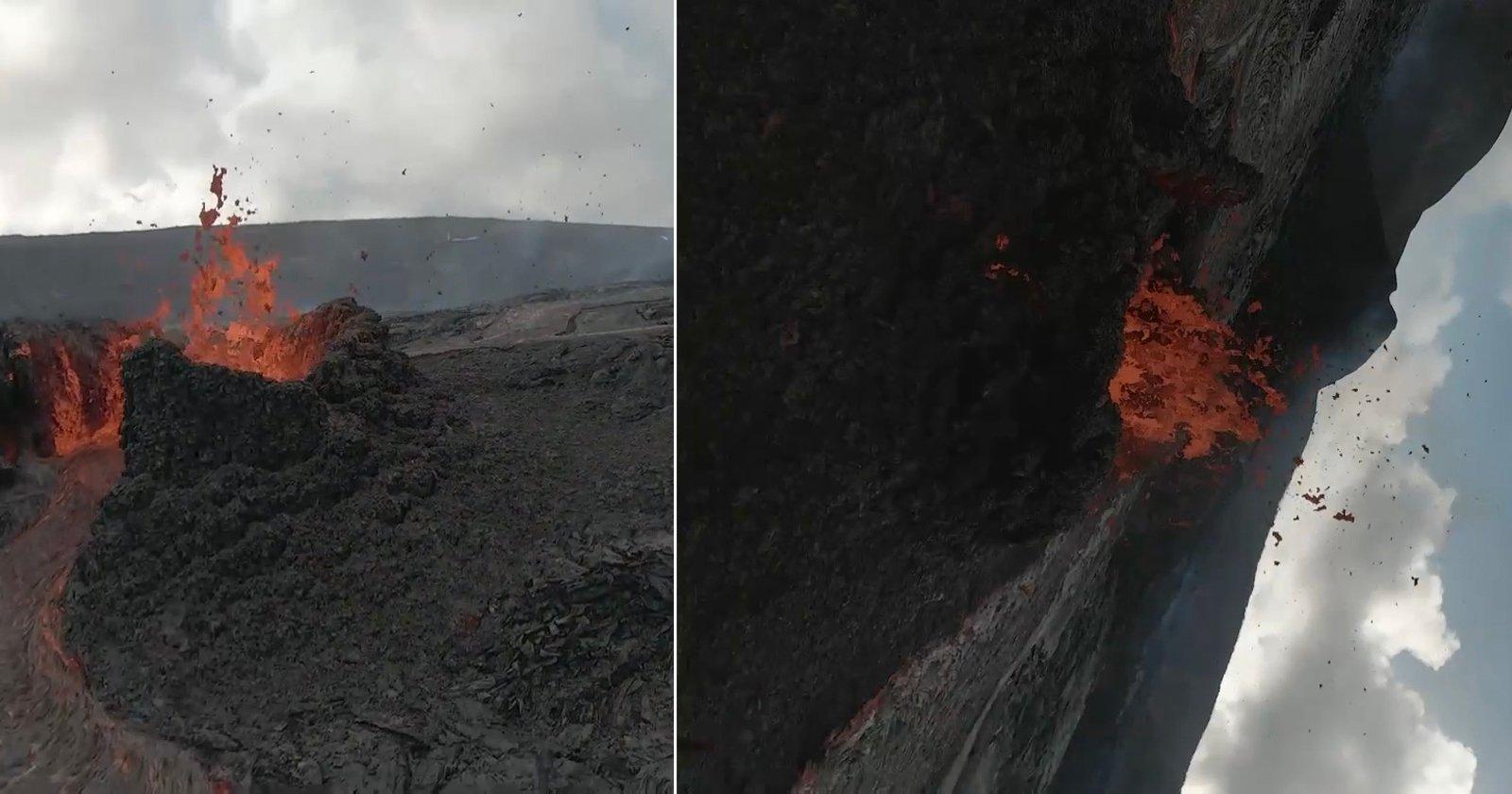 Guarda un drone FPV DJI che viene colpito da un pezzo di lava volante