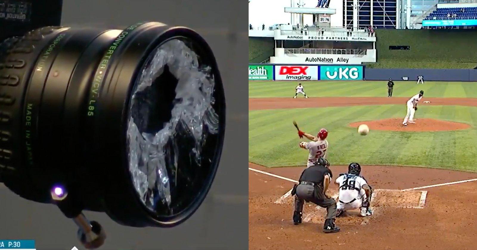 Guarda un giocatore della Major League Baseball frantumare una lente con una palla sbagliata