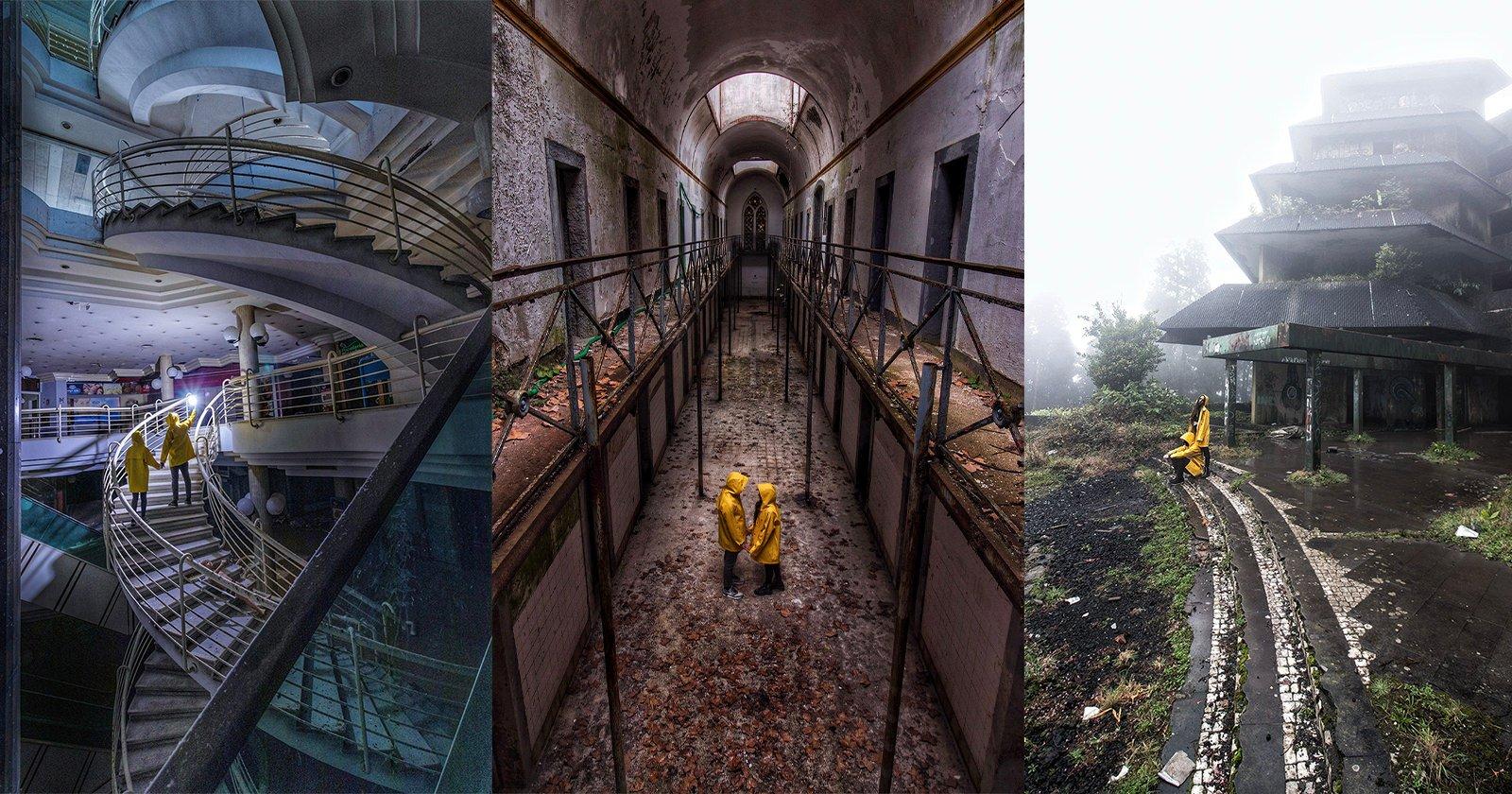 Contrasti di coppia Spazi abbandonati e cappotti colorati in foto surreali