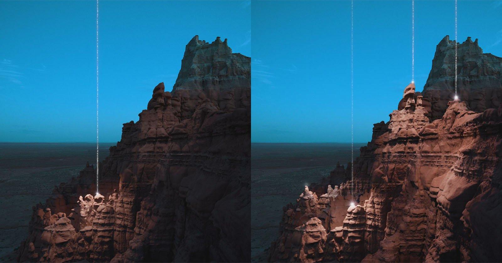 Questa arte del paesaggio utilizza la proiezione AR per mostrare fasci di luce